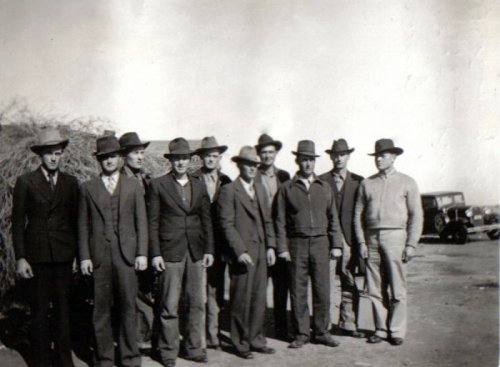 Lenard Bryant's brothers, left to right: Lenard, Booster, Coot, Chief, Red, Dick, Monroe (Letha's husband), Buck, Jack, Raymond (Lettie's husband) Taken after Lenard's father's funeral January 13, 1938