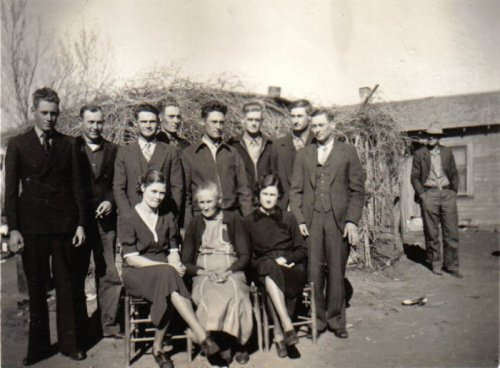 Lenard Bryant's family after Lenard's father's funeral on January 13, 1938 Back row, left to right: Lenard, Chief, Booster, Coot, Dick, Red, Jack & Buck Front row, left to right: Lettie, Fannie (Lenard's Mother) & Letha