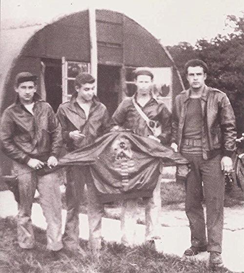 Far left:  Harry Allen Liniger, Waist/Flexible Gunner on the James J. Brodie Crew Second from right:  Robert Doyle Crumption, Engineer/Top Turret Gunner on the James J. Brodie Crew