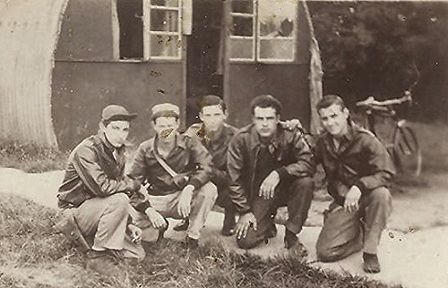 Far left:  Harry Allen Liniger, Waist/Flexible Gunner on the James J. Brodie Crew
