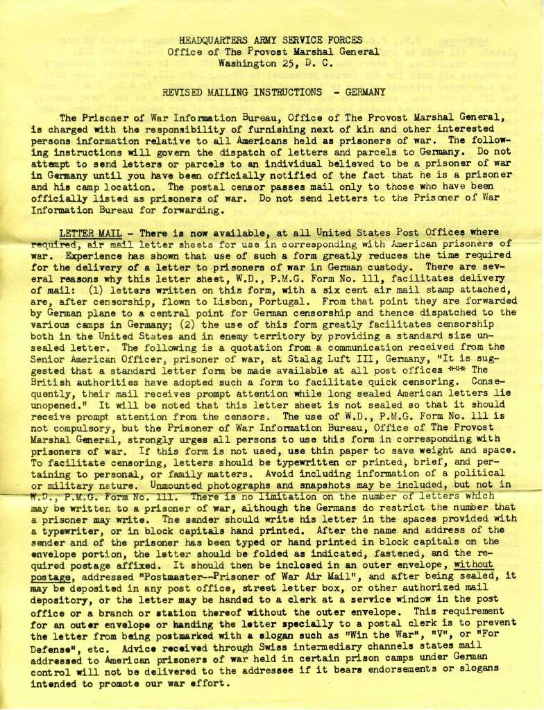 Page 1 of Revised Mailing Instructions for Prisoners of War