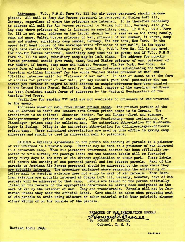 Page 2 of Revised Mailing Instructions for Prisoners of War