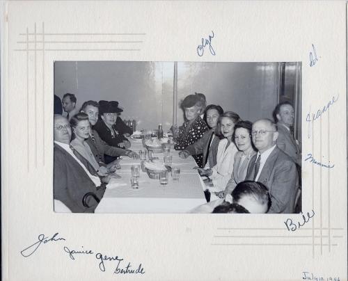 At Barney's Market Club on July 10, 1946 Left side of table:  John Buslee, Janice Buslee Kielhofer, Gene Kielhofer, Gertrude (unknown relationship) Right side of table:  Bill Henson, Minnie Henson, Jeanne Henson, Ed Farrar, Olga Buslee
