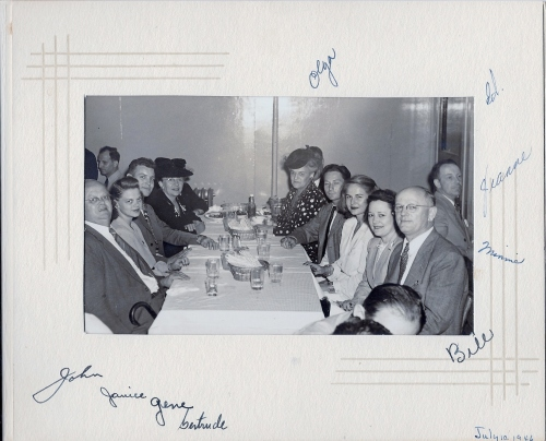 At Barney's Market Club on July 10, 1946 Left side of table:  John Buslee, Janice Buslee Kielhofer, Gene Kielhofer, Gertrude (unknown relationship) Right side of table:  Bill Henson, Minnie Henson, Jeanne Henson, Ed Farrar, Olga Buslee