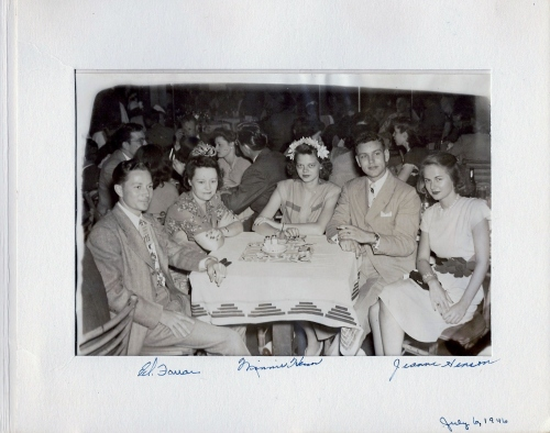 The College Inn in Chicago, Illinois on July 6, 1946 Left to right:  Ed Farrar, Minnie Henson, Janice Buslee Kielhofer, Gene Kielhofer, Jeanne Henson
