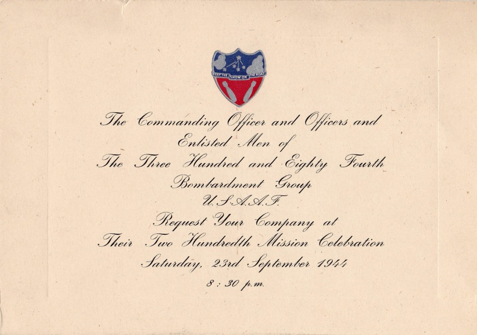Invitation to the 384th Bomb Group's 200th Mission Celebration