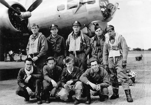 Standing L-R: Gerald B. Sammons (AC), Frank L. Allred (P), Donald L. Ward (B), Timothy J. O'Sullivan (N), Richard E. Rafeld (TG) Kneeling L-R: Robert M. Mitchell (BT), Forrest J. Bemis (ENG/TT), Eldon B. Drury (RO), Carl H. Redcay (FG) Crew identification provided by Robert M. Mitchell, 2 September 2014.