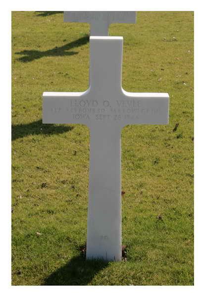 Lloyd Vevle grave marker, Ardennes American Cemetery in Neupre, Belgium