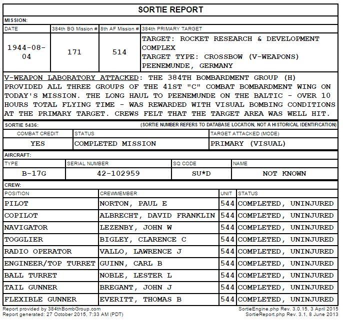 8-4-1944 Norton Crew Sortie Report