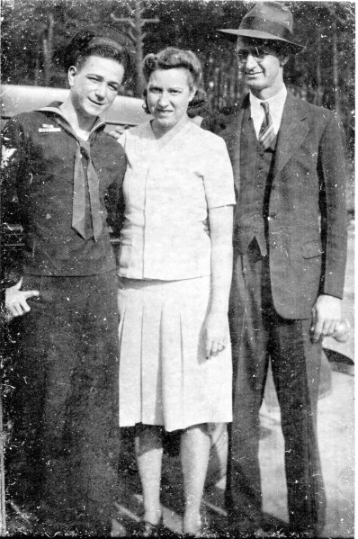 Left to right: Bob Farrar in his WWII Navy uniform, Janet and Johnnie Boyt