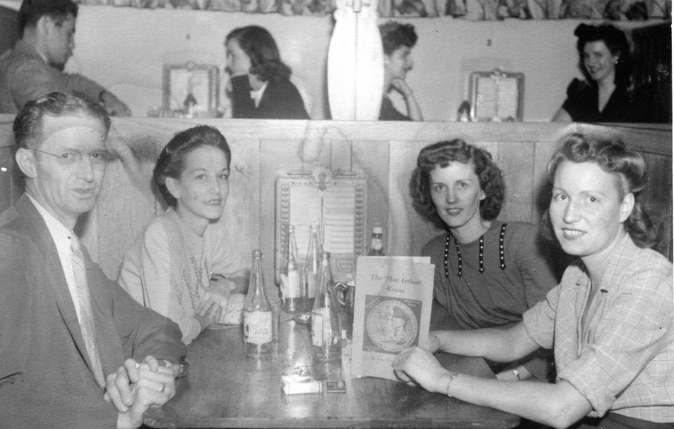 Left to right: Johnnie Boyt, Dot Farrar Cobb, Millie Dustin Farrar (Carroll Jr's wife), and Janet Farrar Boyt at Atlanta's MacArthur Cocktail Room at Peachtree and Ellis