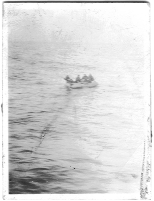 Crew being picked up by British Air-Sea Rescue - Crew being picked up by British Air-Sea Rescue. 3 February 1945 mission to Berlin. Robert Long (P), Ralph Vrana (CP), Edward Field (N), Marvin Rudolph (TOG), Frederick Maki (RO), Howard Oglesby (TT), Jack Cook (BT), Thomas Davis (TG), Donald Duncan (FG) 42-102501 BK*H The Challenger 546th BS Photo courtesy of Edward Field, 2011.