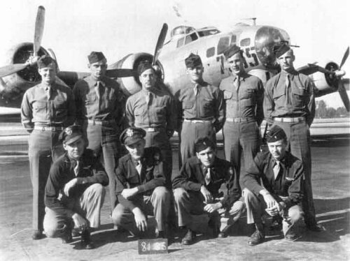 "Ed Field: ""Squatting: I'm third from left. Second from left is co-pilot Ralph Vrana from Cleveland. Can't remember the other names. Plane went down in North Sea on Feb. 3, 1945"" Back L-R: All unidentified Front L-R: unidentified, Ralph Vrana (CP), Edward Field (N), unidentified To Be Identified: Robert Long (P), Marvin Rudolph (TOG), Frederick Maki (RO), Howard Oglesby (TT), Jack Cook (BT), Thomas Davis (TG), Donald Duncan (FG) Photo courtesy of Edward Field, 2011."