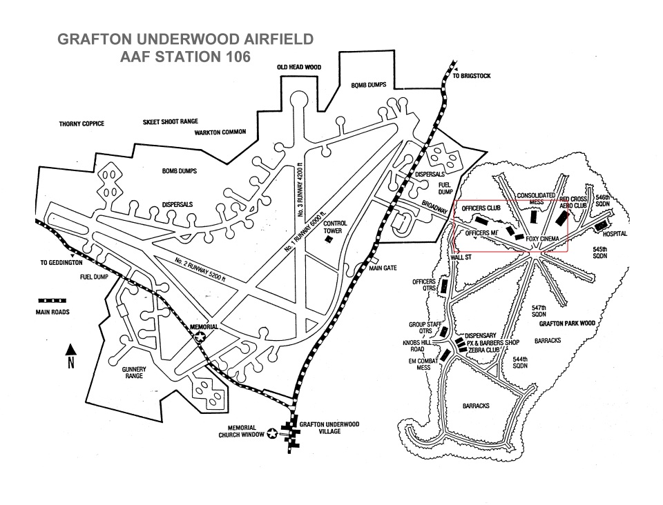 Location of the Foxy Theatre at the Grafton Underwood Airfield