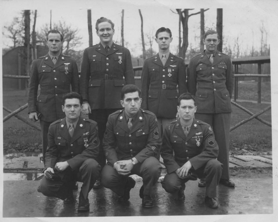 Back row left to right: SSGT John W. Gardiner, Lt. John W. Butler Jr., Capt. Kenneth D. Myrick, and MSgt Arnold Watterson. Front Row: SSGT Walter C. Ciejka, MSG George E. Guiles, SSGT Eugene C. Lucynski Three in back row and lower left hand awarded Distinguished Flying Cross, lower right hand awarded Purple Heart. The two MSgts awarded Bronze Star.