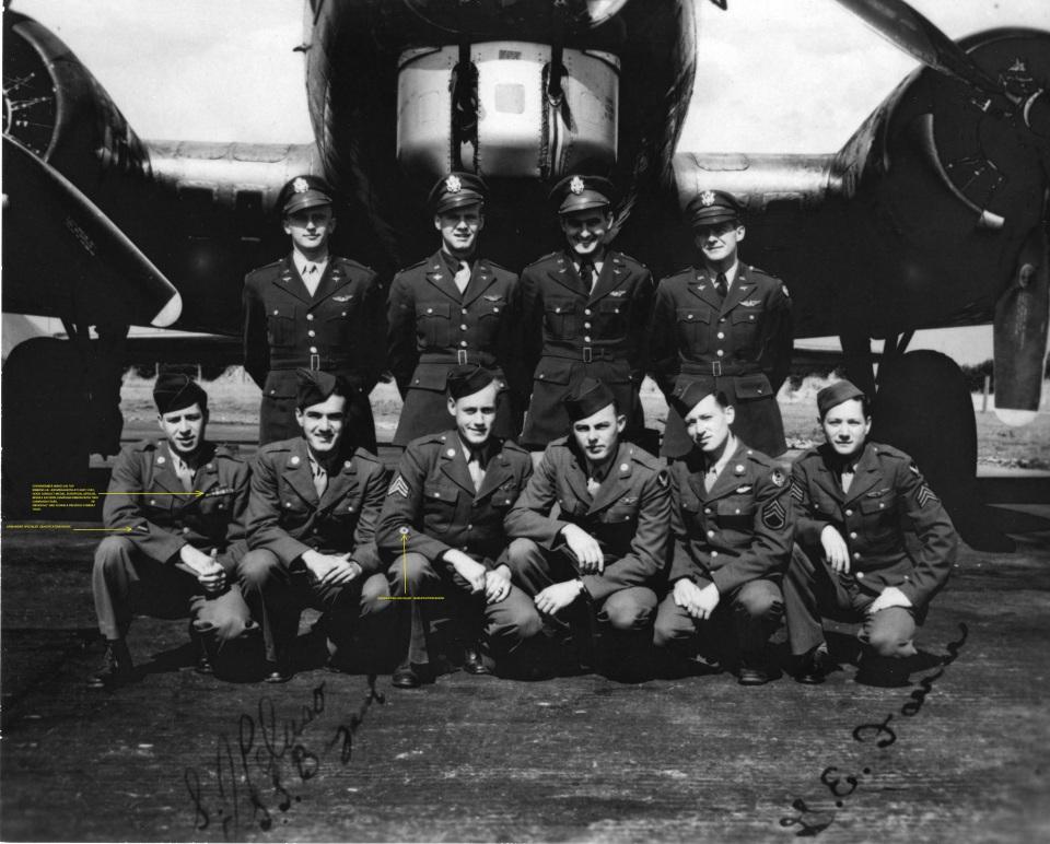 Standing, left to right: John Buslee (pilot), David Albrecht (co-pilot), Chester Rybarczyk (navigator), and Marvin Fryden or James Davis (bombardier) Kneeling, left to right: Erwin Foster (ball turret gunner), Sebastiano Peluso ( radioman), Lenard Bryant (waist gunner), Clarence Seeley (engineer/top turret gunner), Eugene Lucynski (tail gunner), and George Farrar (waist gunner)