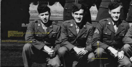 Left to right: Erwin Foster (ball turret gunner), Sebastiano Peluso ( radioman), and Lenard Bryant (waist gunner)