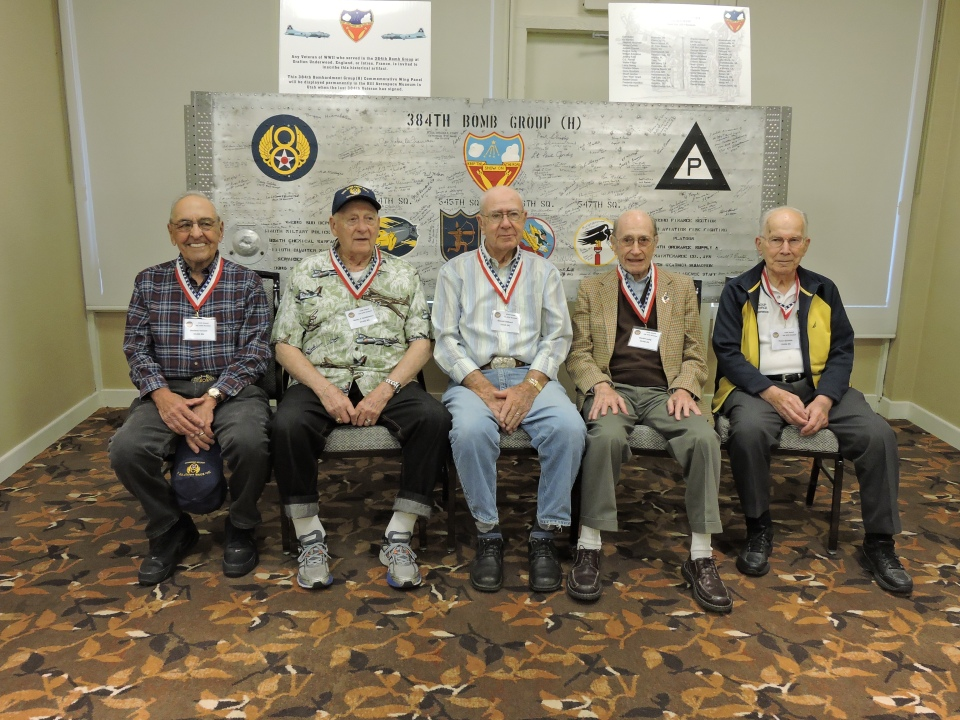 384th Bomb Group Veterans with the wing panel L to R: Sheldon Leonard, Henry Sienkiewicz, Don Hilliard, Dave Lustig, and Peter Bielskis