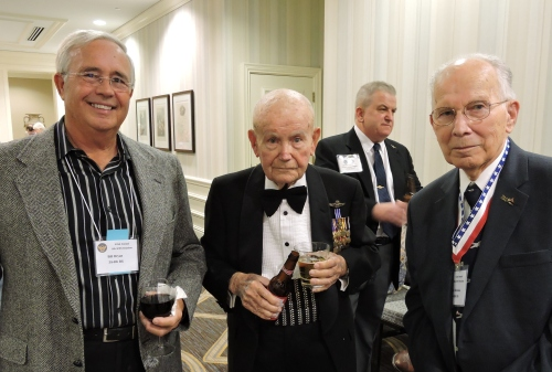 2016 8th AF Reunion Gala Dinner. L to R: Bill Bryan (husband of Cindy Farrar Bryan), Joe McNiel of the 392nd Bomb Group, Peter Bielskis of the 384th Bomb Group (Note: not certain of Joe's last name)