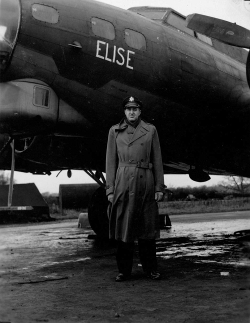 "384th Bomb Group Commander Dale Smith with ""Elise,"" the B-17 named after his wife"