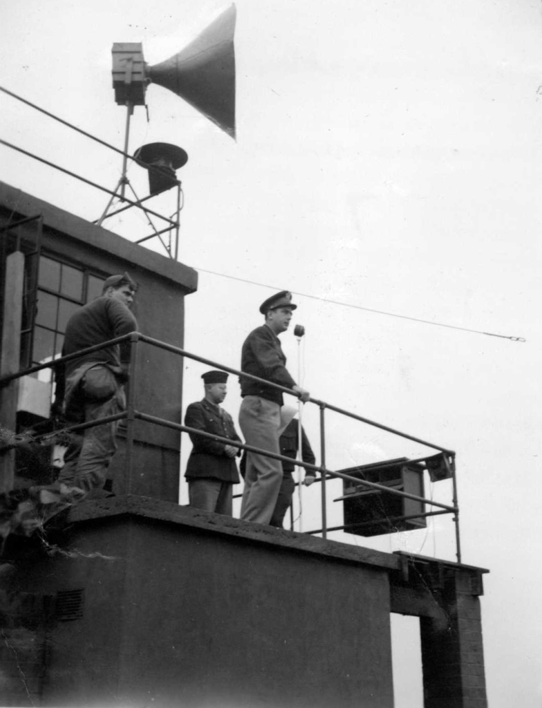Col. Theodore Milton announces Germany's surrender to the 384th Bomb Group, May 7, 1945