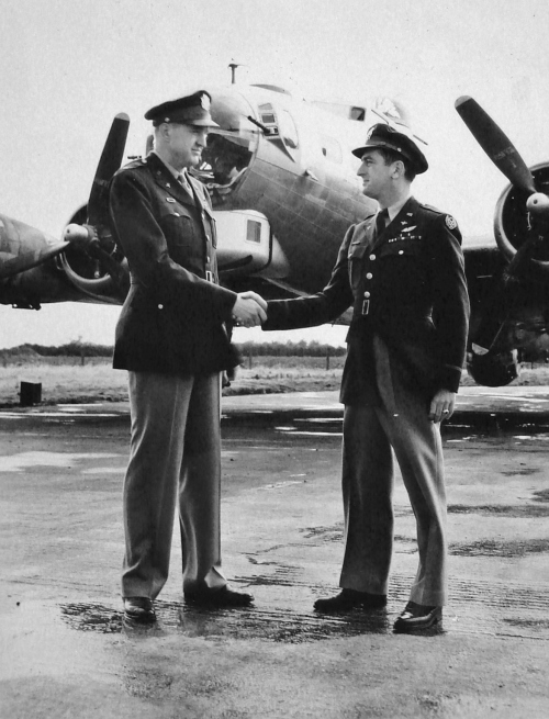 Col. Dale Smith hands off command of the 384th Bomb Group to Col. Theodore Milton, October 24, 1944