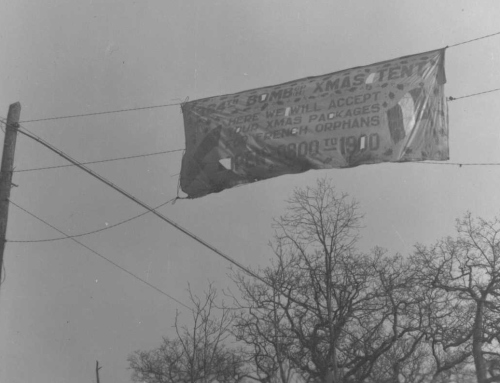 Banner from 1944, it reads: 384th Bomb GP Xmas Tent. Here we will accept your Xmas packages for French orphans. Open 0900 to 1900. Source: Robert Bletscher Collection