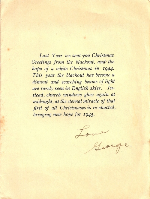 Christmas Card from a 384th Bomb Group member, 1944