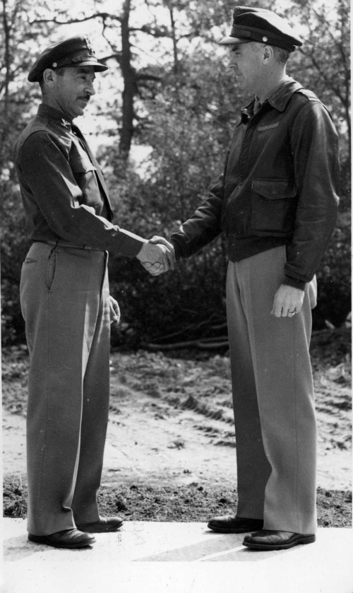 Col. Budd Peaslee hands off command of the 384th Bomb Group to Col. Julius Lacey, September 6, 1943