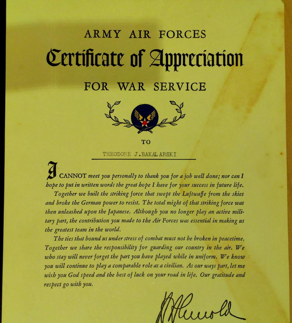 Certificate of Appreciation of Theodore. J. Bakalarski