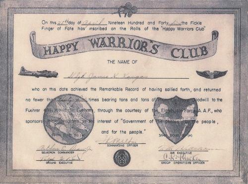 Happy Warrior's Club certificate of S/Sgt. James K. Kangas