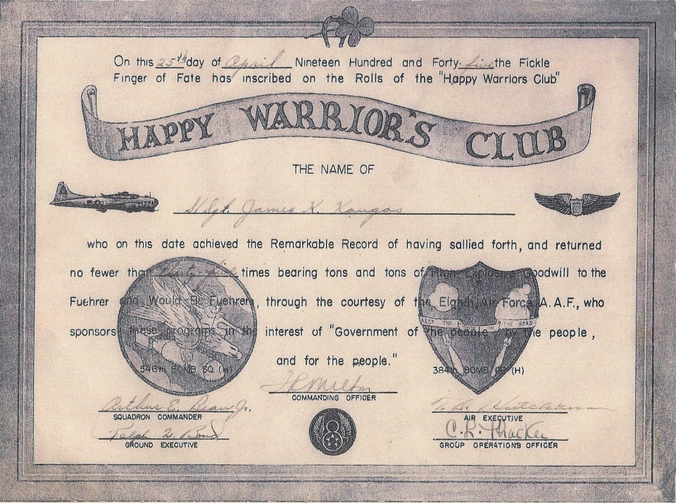 Happy Warrior's Club certificate of S/Sgt. James K. Kangas