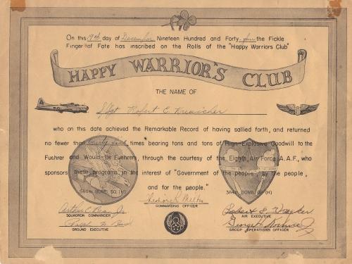 Happy Warrior's Club certificate of S/Sgt. Robert C. Kreuscher