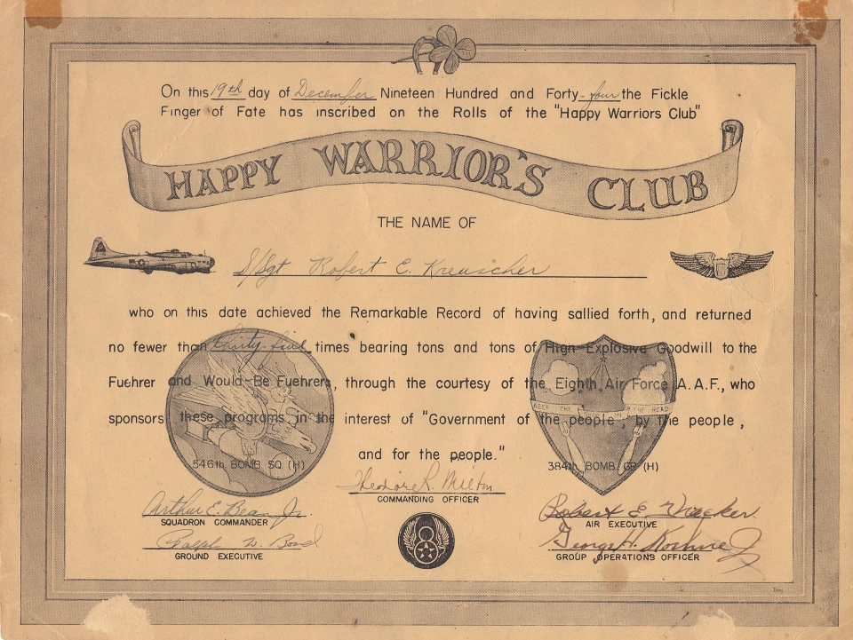 Happy Warrior's Club certificate of S/Sgt. Robert C. Kreuscher