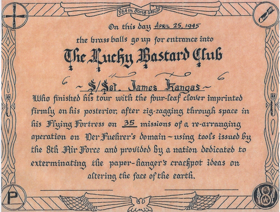 Lucky Bastard Club certificate of S/Sgt. James K. Kangas